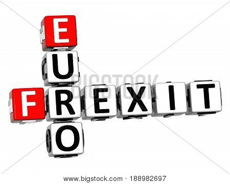 3D Crossword Frexit Euro Over White Background.