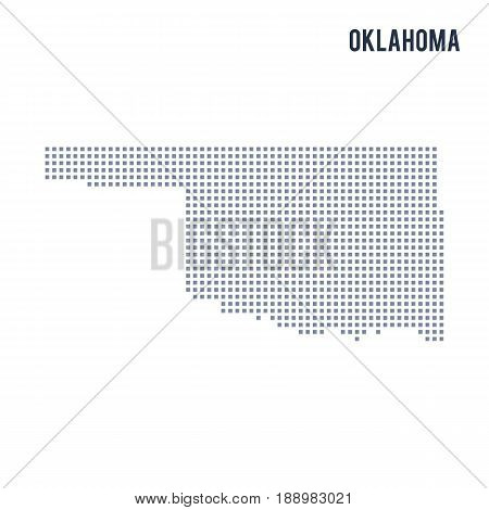 Vector pixel map State of Oklahoma isolated on white background . Travel vector illustration