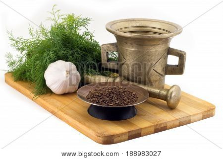 Composition Of Spices,caraway , Dill, Garlic, Vintage Spice Grinder Isolated On White Background