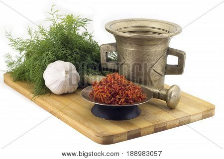 Composition Of Spices,raw Imerin Saffron, Dill, Garlic, Vintage Spice Grinder Isolated On White Back