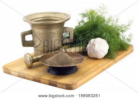 Composition Of Spices, Cracked Black Pepper, Dill, Garlic, Vintage Spice Grinder Isolated On White B