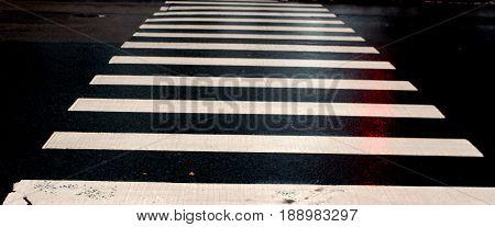 Rhythm of pedestrian crossing on a rainy day