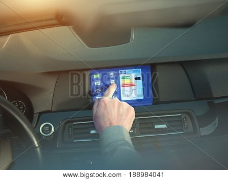 smart house home automation device illustration with app icons. Man is using his smart home automation car app