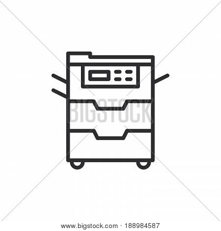 Copy machine line icon outline vector sign linear style pictogram isolated on white. Document copier symbol logo illustration. Editable stroke. Pixel perfect