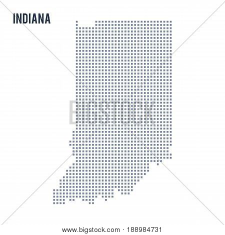 Vector pixel map State of Indiana isolated on white background . Travel vector illustration
