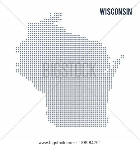 Vector pixel map State of Wisconsin isolated on white background . Travel vector illustration