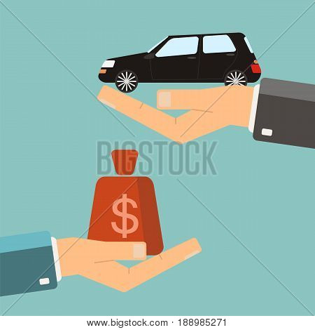 Hands with car and money bag. Exchanging concept. Buying or rent car. Vector