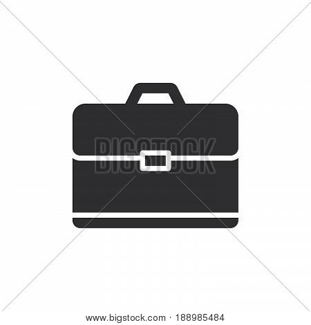 Briefcase icon vector filled flat sign solid pictogram isolated on white. Portfolio symbol logo illustration. Pixel perfect