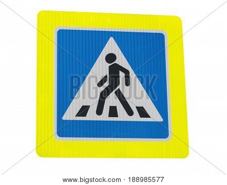 the Zebra crossing sign on white background