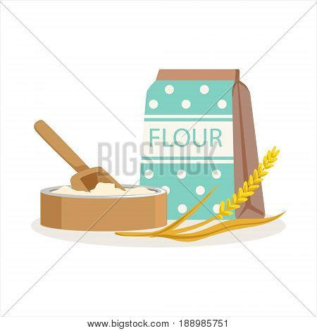 Flour in a craft paper bag and wooden bowl with scoop vector Illustration isolated on a white background