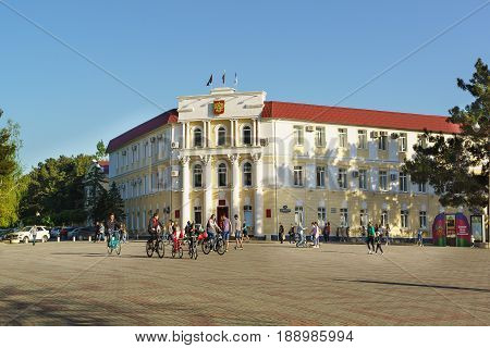 Gelendzhik Krasnodar Krai Russia - April 29.2017: the building of administration of municipal formation the city-resort of Gelendzhik on the Central square of the city