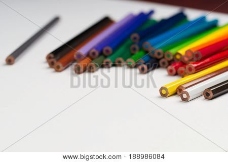 Multicolored pensils on the white paper. Back to school. Copy space. Top view.