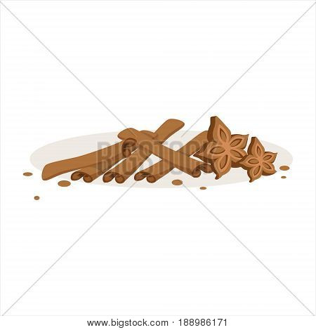 Cinnamon sticks and stars of anise baking ingredients vector Illustration isolated on a white background