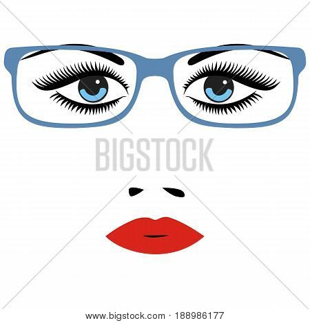 Woman beautiful eyes with glasses. vector illustration.