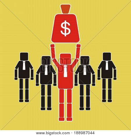 Businessman holding a money bag. Competitor concept. Vector illustration