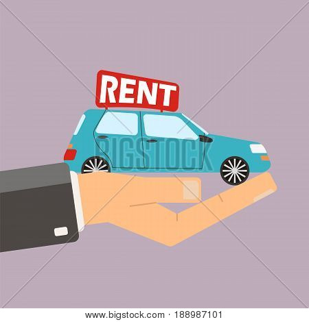 Hands hold car for rent. Buying or rent car. Vector