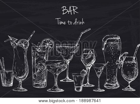 Background with different cocktails. Drawing chalk on a blackboard. Caption: bar time to drink. Place on your text. Vector illustration of a sketch style.