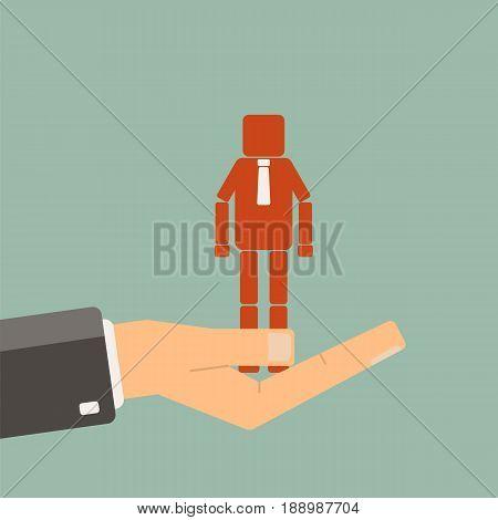 Businessman choosing a worker. Recruitment agency. vector
