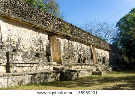 Base of a Mayan pyramid in the ancient ruins of Ek Balam near Valladolid Mexico