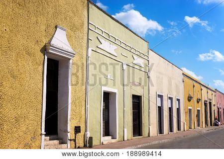 Historic colonial street in the center of Valladolid Mexico