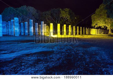 Temple of the Warriors at night in Chichen Itza Mexico