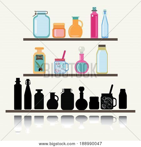 Flat vector illustration set of different shape jars and bottle for preserve. A set of cute icon collection of glassware jars and bottle.