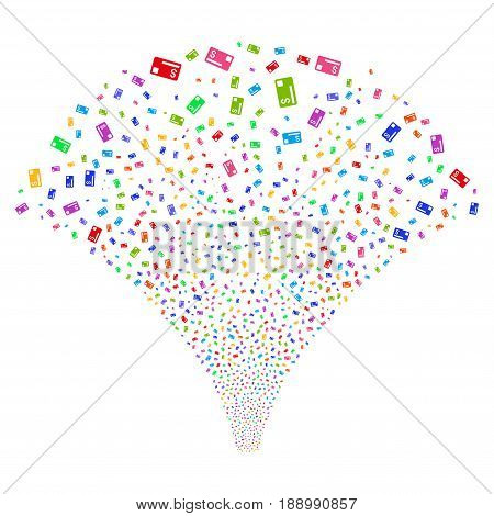 Credit Card salute stream. Vector illustration style is flat bright multicolored iconic symbols on a white background. Object explosion fountain combined from random design elements.