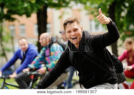 Orel Russia - May 28 2017: Bikeday. Bicyclist thumb up selective focus
