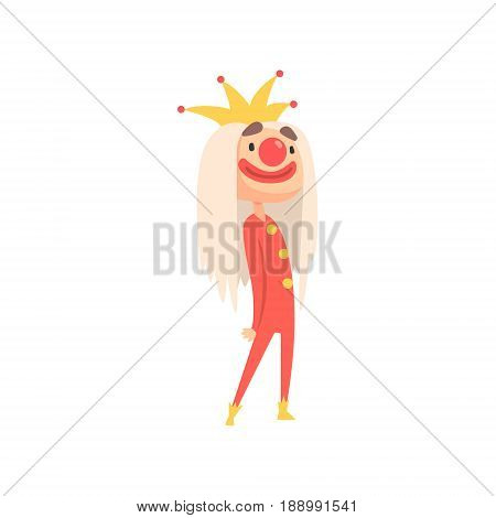 Funny cartoon jester with long blond hair and a crown on his head colorful character vector Illustration isolated on a white background