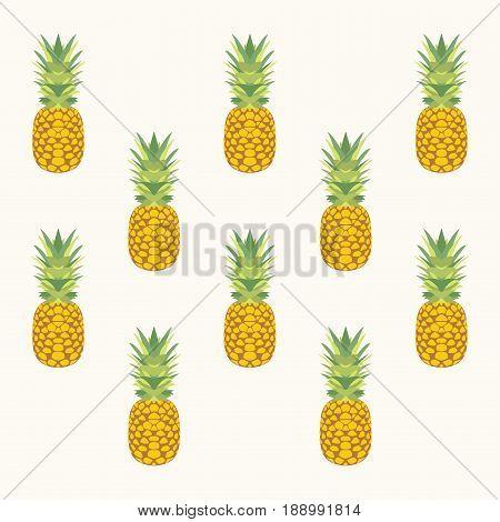 Pineapple seamless pattern. Vector illustration. Summer fruit