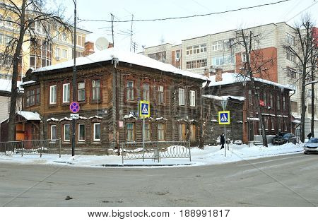 Kazan, Tatarstan, Russia - February 1, 2017. Crossroads of Volkov Street and Lesgafta Street.