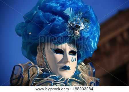 Venice carnival costume and mask, in 2016.