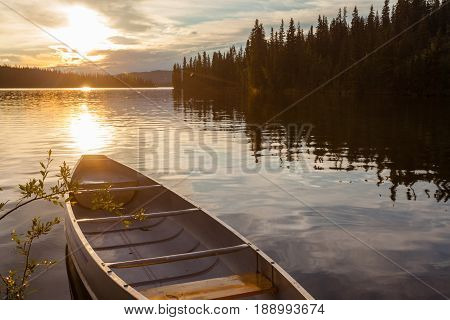 Frenchman Lake Yukon Canada Canoe Sunset Scene