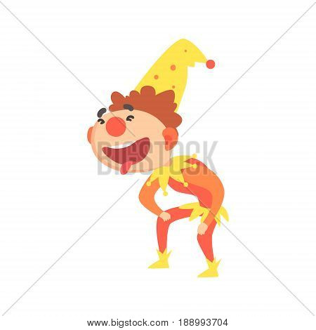 Funny laughing jester colorful cartoon character vector Illustration isolated on a white background