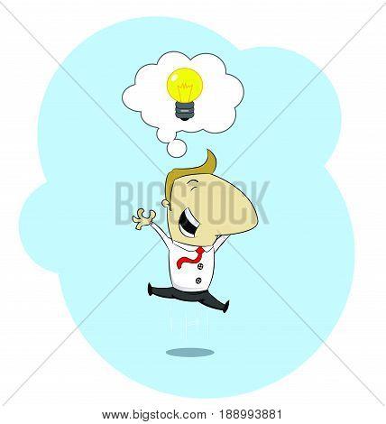 Happy jumping businessman with great idea. Idea, innovation, start up concept. Vector cartoon illustration.