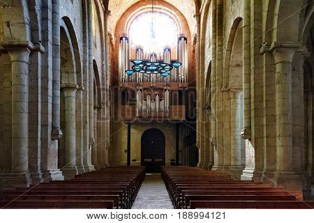 VIMBODI  i POBLET, SPAIN - APRIL 18, 2013: Interior of The Royal Abbey of Santa Maria de Poblet. a Cistercian monastery, founded in 1151, located at the foot of the Prades Mountains