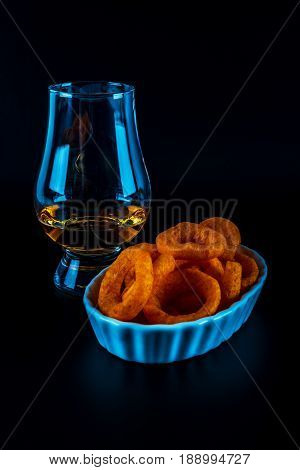 Set Of Snacks With Different Dips And A Single Malt In A Glass, Crunchy Snacks In A Bowls, Good Food