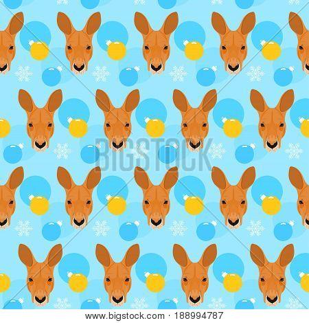 Kangaroo Seamless Pattern. Winter Holiday Background.
