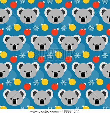 Koala Seamless Pattern. Winter Holiday Background. Koala, Snow And Glass Ball.