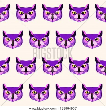 Owl Seamless Pattern Background. Cartoon Owl Head Painted In Imaginary Purple Colors.