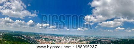 Beautiful panorama of the city of Stuttgart, Germany in summer