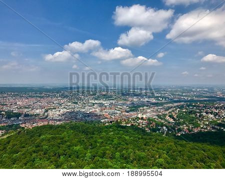 Beautiful view of the city of Stuttgart, Germany in summer