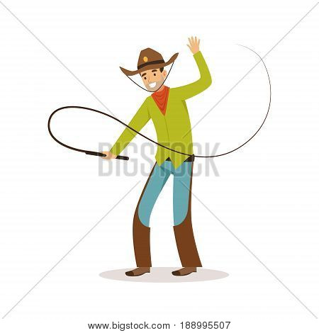 Man in American traditional costume with whip western cartoon character vector Illustration isolated on a white background