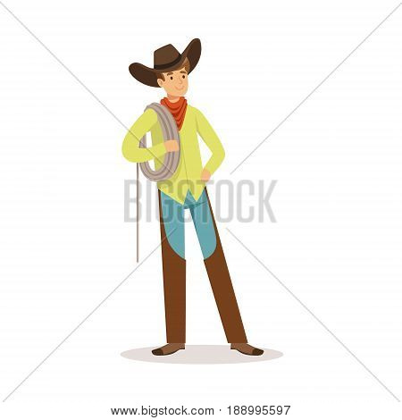 Cowboy standing and holding a rope over his shoulder western cartoon character vector Illustration isolated on a white background