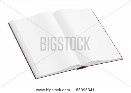 Opened blank book closeup 3D rendering isolated on white background