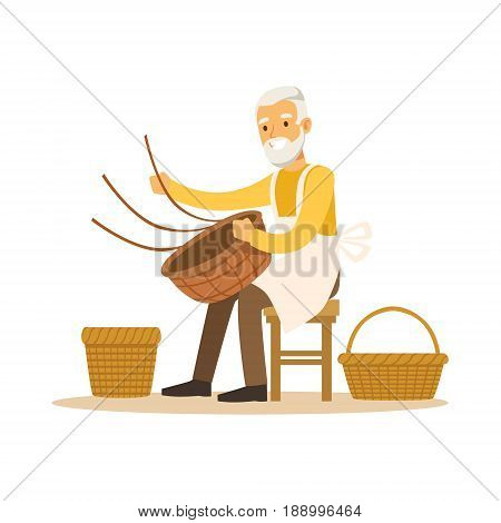 Senior man weaving baskets, craft hobby or profession colorful character vector Illustration isolated on a white background