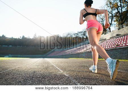 Rear View Of Girl Running