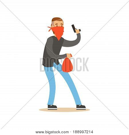 Masked robber holding a gun and carrying an orange bag, robbery colorful character vector Illustration isolated on a white background
