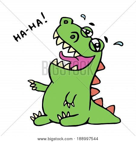 Dinosaur laughs. Vector illustration. Unbridled joy. Cute cartoon character.