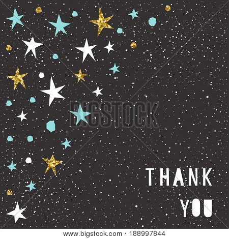 Thank You Card Template. Handmade Blue, White And Gold Star And Letters.